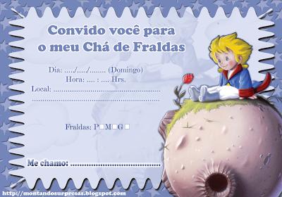 Montando Surpresas  Convite Chá De Fraldas Pequeno Príncipe