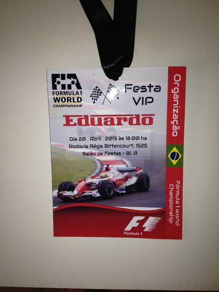 Convite Credencial Fórmula 1