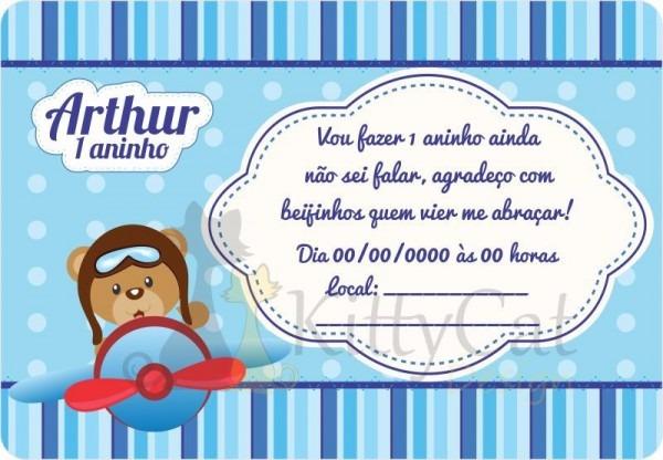 40 Convites Infantil Aniversário Urso Aviador