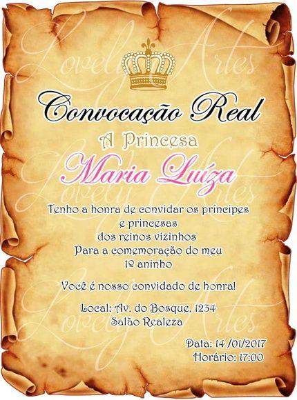 Convite Pergaminho Princesa Real Feitas Especialmente Para Você