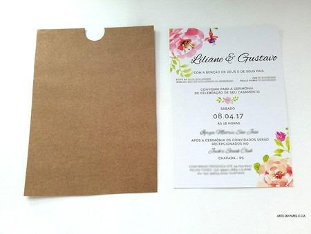 Convite De Casamento Aquarela Floral Com Envelope Luva Kraft