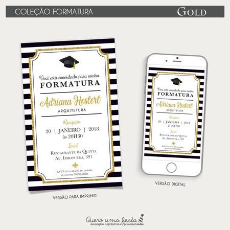 Convite Formatura Gold