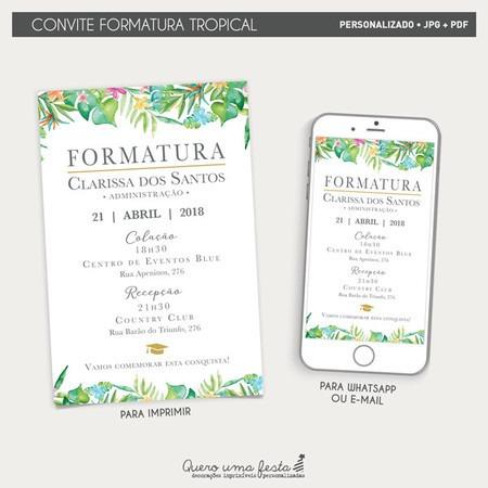 Convite Formatura Tropical