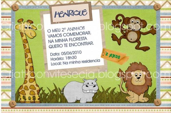 Convite Tema Floresta