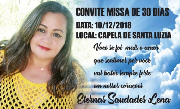 Blog Do Evando Lima  Convite De Missa De 30 Dias  De Lena