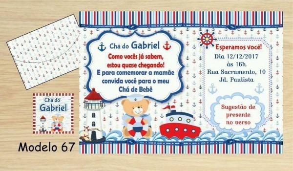 64 Convite Ursinho Marinheiro