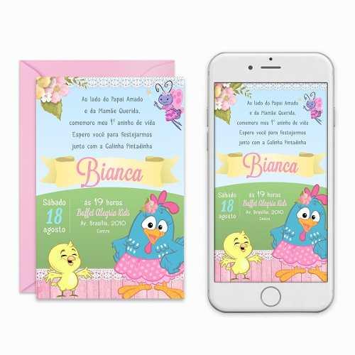 Convite Digital Galinha Pintadinha Rosa Candy Colors Virtual à