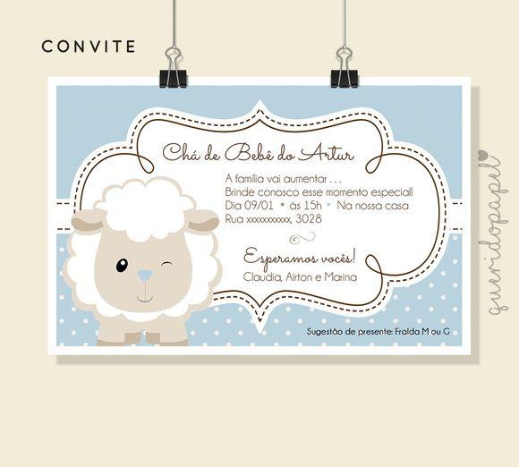 Convite Ovelhinha, Convite Batizado, Convite Chá De Bebê, Convite