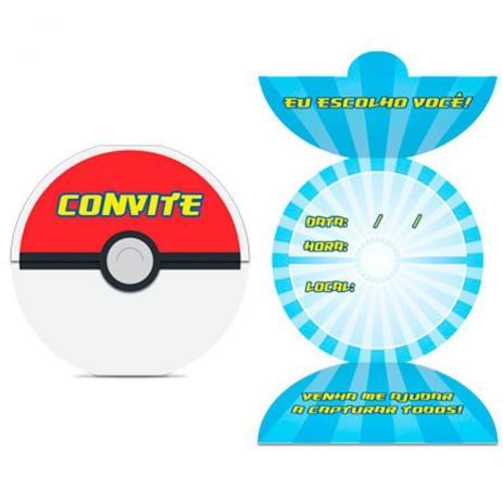 Convite De Aniversário Para Festa Pokémon Go 8 Unidades Junco