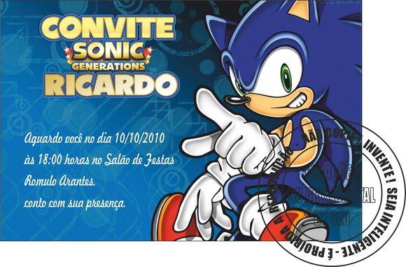 Um Modelo De Convite Do Sonic Pronto Para Preencher Com As