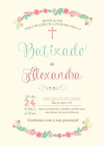 Convite Digital De Batizado  Tamanho 10x15cm Delicado Convite