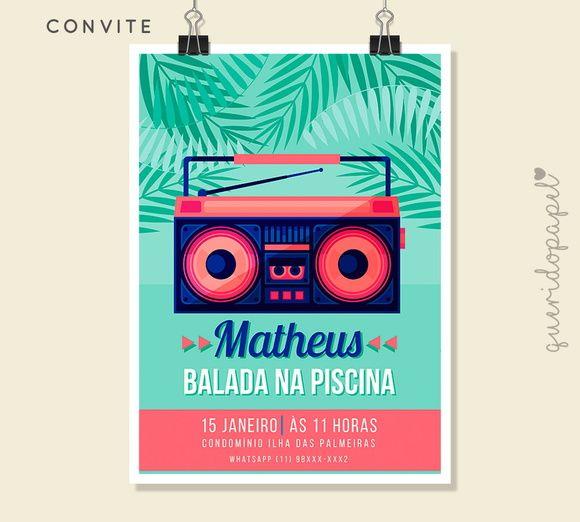 Festa Na Piscina, Convite Pool Party, Convite Piscina, Convite