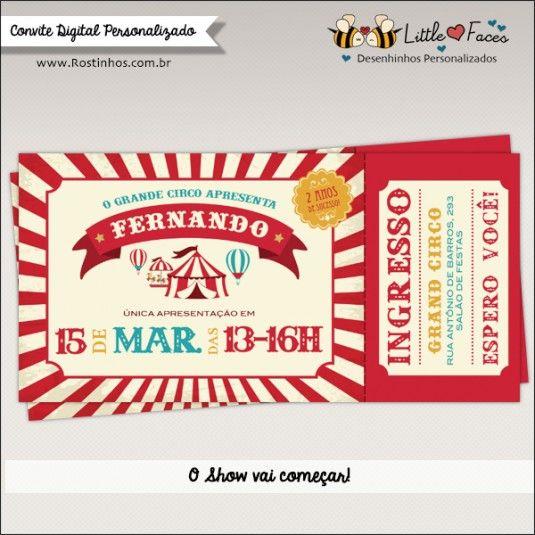 Convite Festa Circo Vintage Para Imprimir