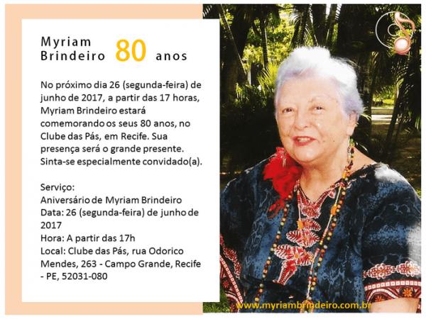 Myriam Brindeiro 80 Anos  Convite