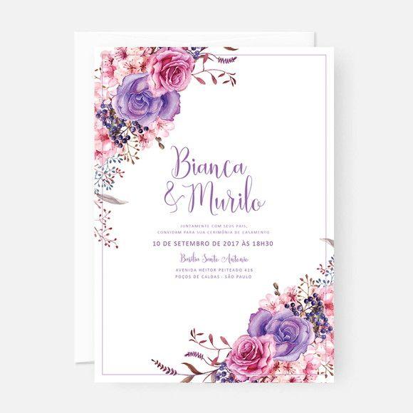Arte Digital Convite De Casamento Floral Lilás (p  Imprimir