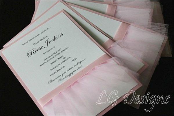 Ballerina Theme Custom Birthday Invitations  For More Party Themes