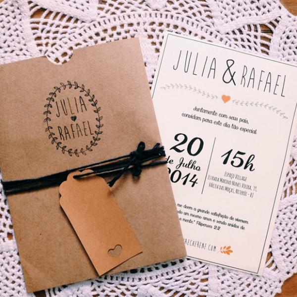 Convite De Casamento; Convite Rústico; Envelope Kraft;