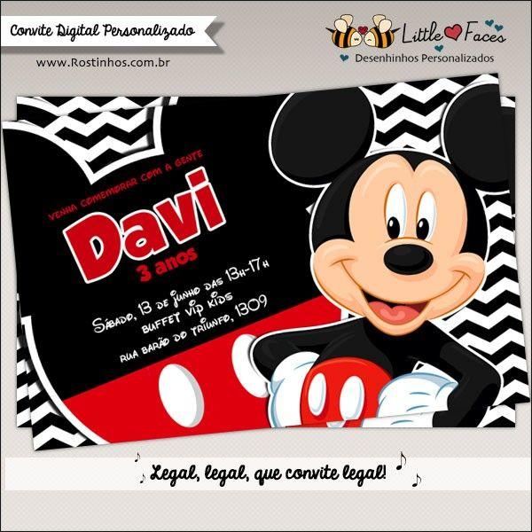Convite Festa Mickey Mouse Para Imprimir