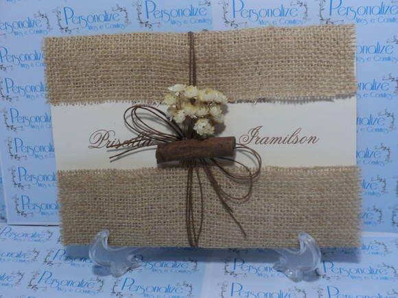 Convite De Casamento Rústico  Envelope Em Juta E Lâmina Em Papel