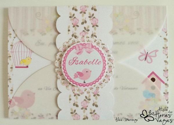 Convite+artesanal+passarinho+
