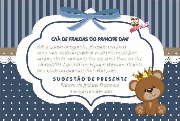Arte Convite Chá De Fraldas Ursinho Rei No Elo7