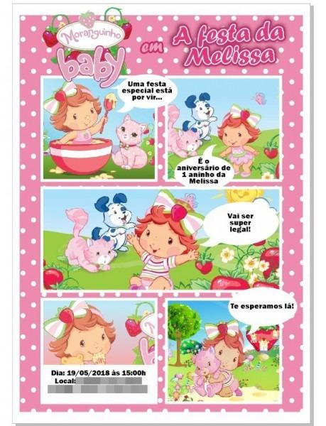 Arte Convite Moranguinho Baby Gibi Digital Pink