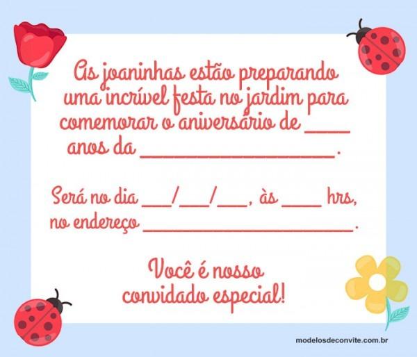 21 Convites De Joaninha Para Festa No Jardim – Modelos De Convite
