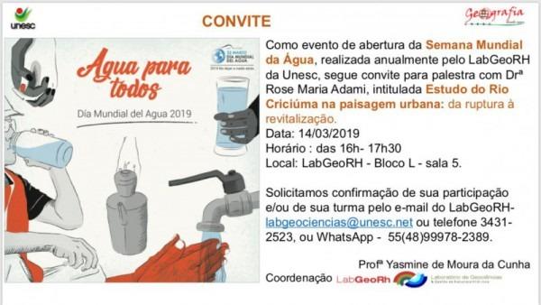 Convite  Estudo Do Rio CriciÚma Na Paisagem Urbana