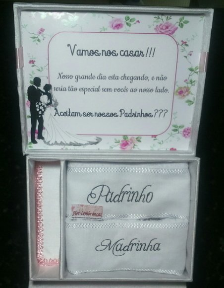 Convite Padrinhos Casamento Com 2 Toalhas Bordadas