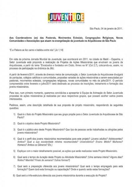 Setor Juventude De SÃo Paulo  Carta Convite