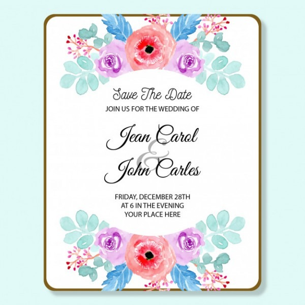 Cartão De Convite De Casamento Com Suave Aquarela Floral Azul E