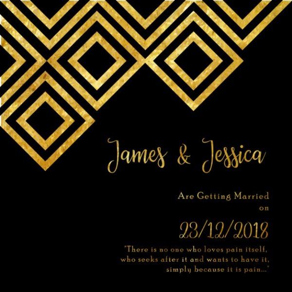 Cartão Dourado E Preto Do Convite Do Casamento