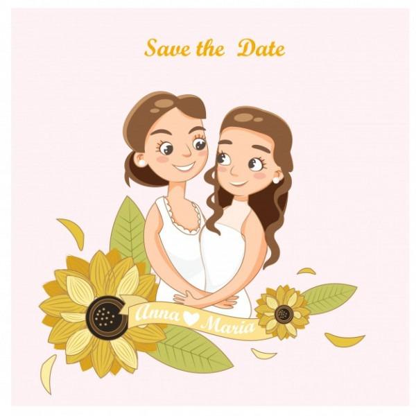 Casal De Lésbicas De Casamento Em Cartão De Convites De Casamento