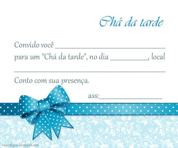 Convite Ch  Da Tarde Para Imprimir