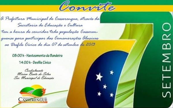 Convite Para O Desfile Cívico De Casserengue