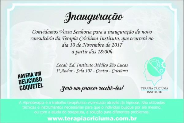 Nota E Convite Para A Inauguração Da Terapia Criciúma Instituto