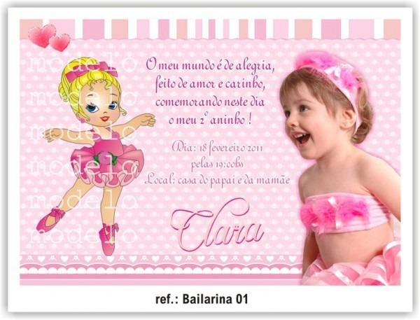 Convite De Aniversário Bailarina