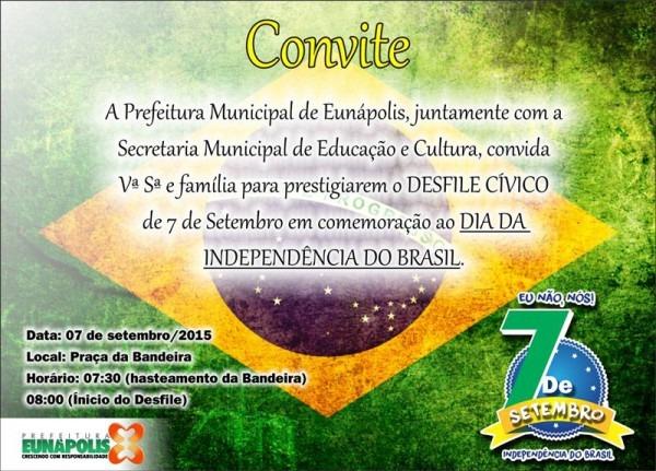 07 De Setembro  Eunápolis Realizará Tradicional Desfile Cívico E