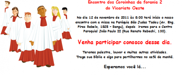 Pastoral Dos Coroinhas    Convite
