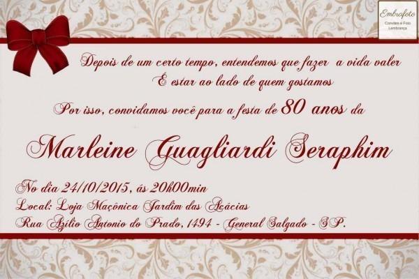 Convite De Aniversario De 80 Anos