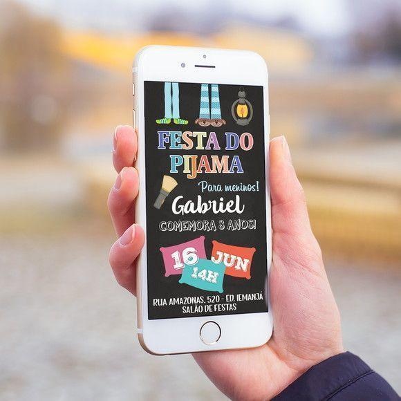 Convite Digital Festa Do Pijama Meninos Aniversário Mod4