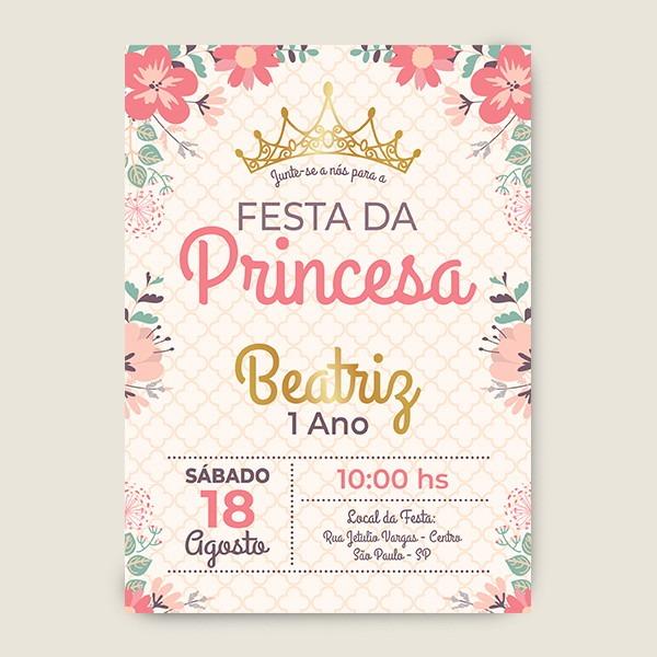 Convite Aniversario Infantil Coroa E Flores Realeza