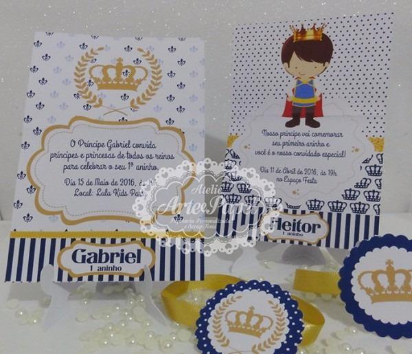 Convite Aniversário Príncipe Realeza Coroa 10 Unidades