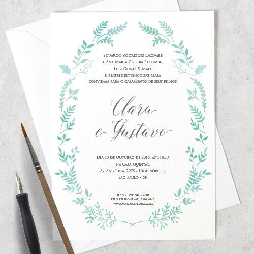 Arte Convite Casamento – Aquarela + Folhagem Digital – Tem Amor No