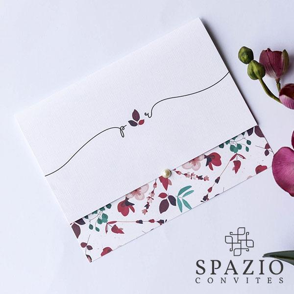 Convite De Casamento Floral Marsala