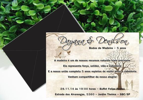 Convite Bodas De Madeira