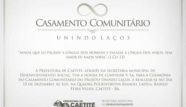 Você é Nosso Convidado Especial Para O Casamento Comunitário