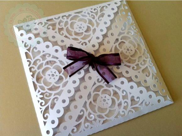 Convite Casamento Envelope Rendado