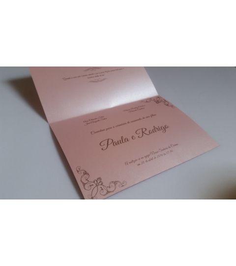 Convite Casamento Papel Perolado  Rosa
