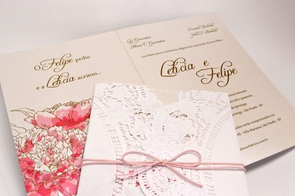 Convites De Casamento Rendado